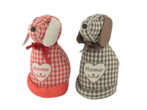 Gingham Fabric Dog Doorstop Home Available in Brown Or Red